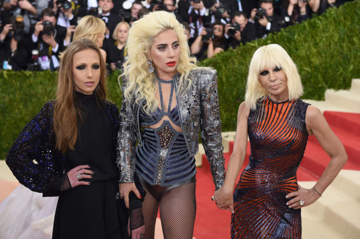 Allegra Versace Beck, Lady Gaga and Donatella Versace at the 2016 Met Gala.