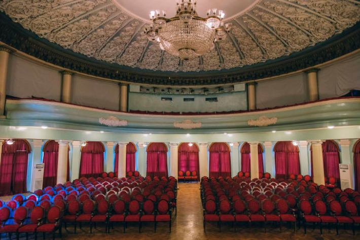 Sanatoriums included elaborate theaters to entertain guests during their holidays.