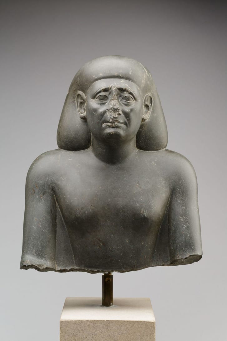 The bust of an Egyptian official dating from the 4th century BC.