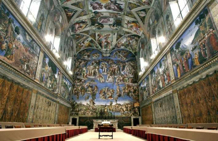 "Michelangelo's fresco ""The Last Judgment"" at the Vatican's Sistine Chapel."