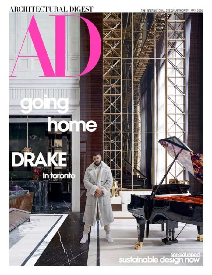 Drake on the cover of Architectural Digest's May issue.