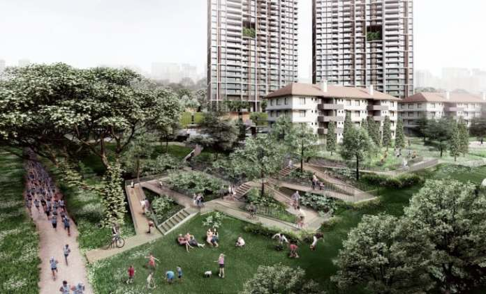 """The area surrounding the towers is described by the architects as """"an inclusive oasis-like community space."""""""