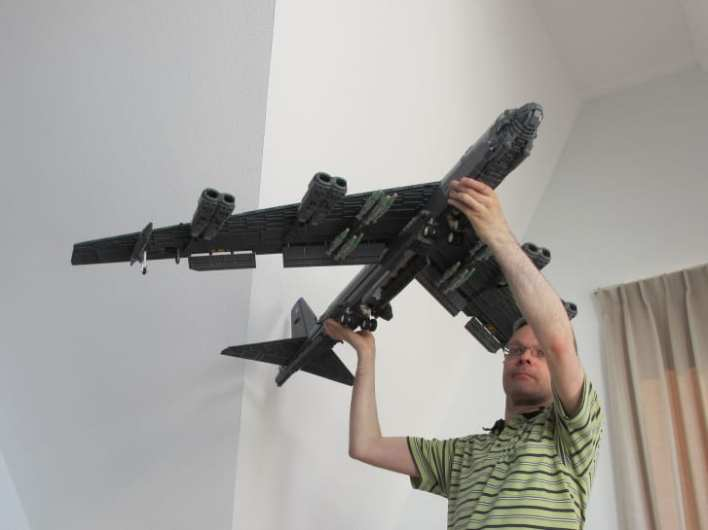 Dutch LEGO builder Ralph Savelsberg shows off a model he made of a US Air Force B-52 bomber with a 5-foot wingspan.
