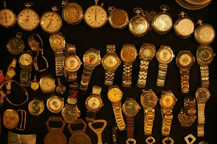 Soviet watches pictured in a souvenir shop in Bukhara, Uzbekistan.
