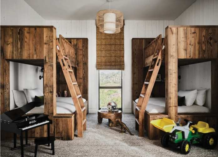 """A """"bunk room"""" in the couple's guest barn."""
