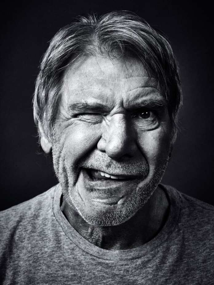 A portrait of Harrison Ford by celebrity photographer Andy Gotts.