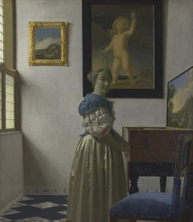 The same cupid has appeared in other works. According to art historian Stephan Koja, Vermeer may have owned the painting it was based on.