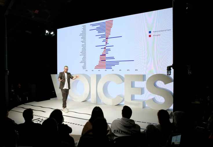 Christopher Wylie speaks on stage during The Business of Fashion's Voices conference in Oxfordshire, England. The chart compares supposed personality traits of individuals who like Wrangler versus Abercrombie & Fitch.