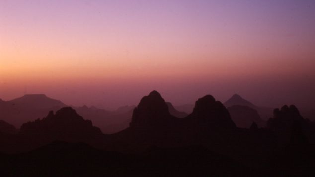 The Ahaggar Mountains -- also known as Hoggar Mountains -- are a highland area in the central Sahara desert.