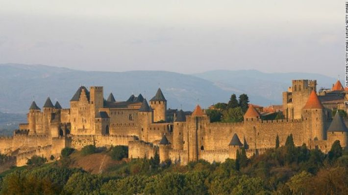 Carcassonne is a fortified french town, its walls dating from Gallo-Roman times.