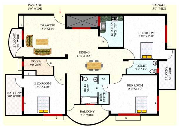 Bedroom Flat Plan Com