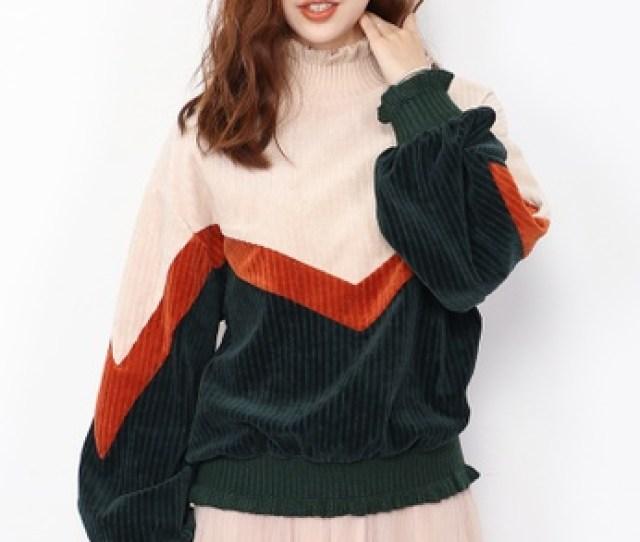 A In Girls Multi Corduroy Spell Color High Necked Sweatshirt Ai732aa2vdumhk_1