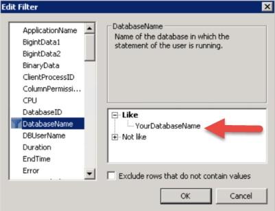 Adding a database name filter