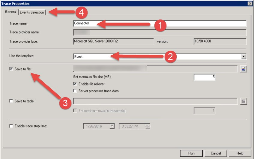New Trace parameters dialog