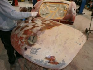 Chemically stripping paint off the trunk lid
