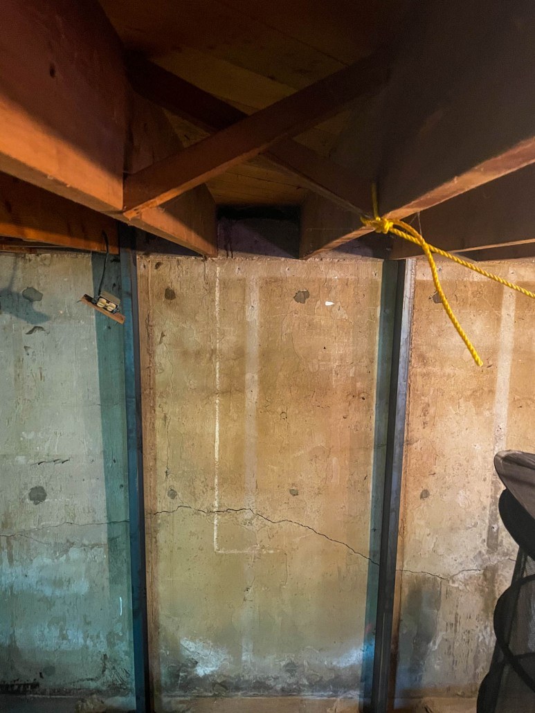 how do you brace a basement wall from caving in?