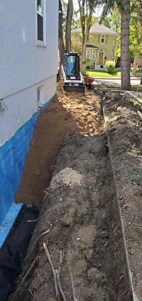 foundation of a house being blue skinned
