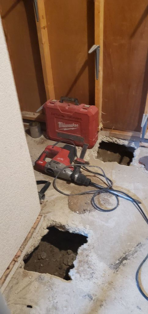 jack hammering through the floor