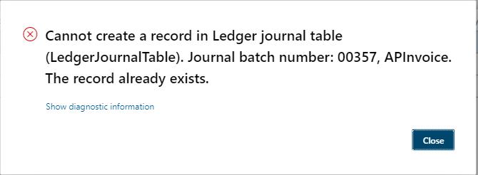 Error in creating Journal