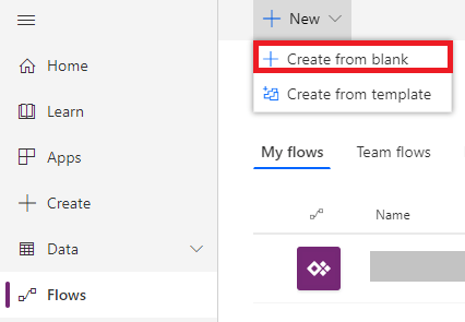 Microsoft Flow Create New