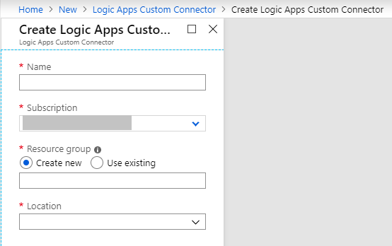 Create Logic Apps Custom Connector Empty