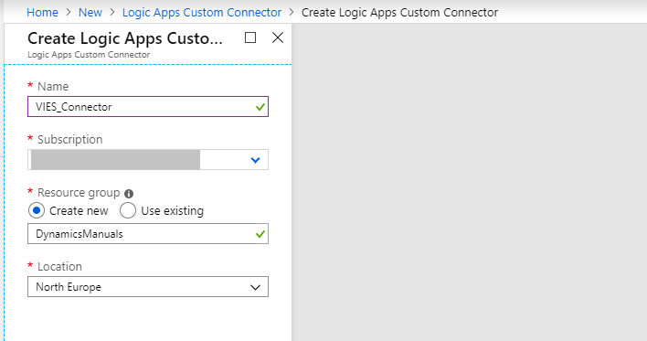 logic apps custom connector filled