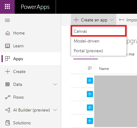 powerapps create an app