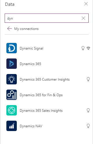 PowerApps DataSources Add Connection