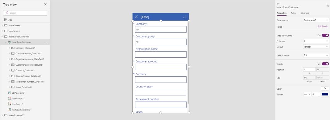 PowerApps InsertScreenCustomer