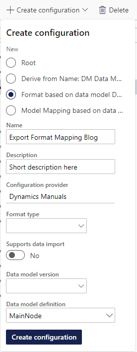 Create new export format mapping