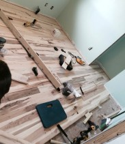Laying the rustic/wormy maple floor