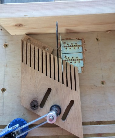 Feather board clamped to jig