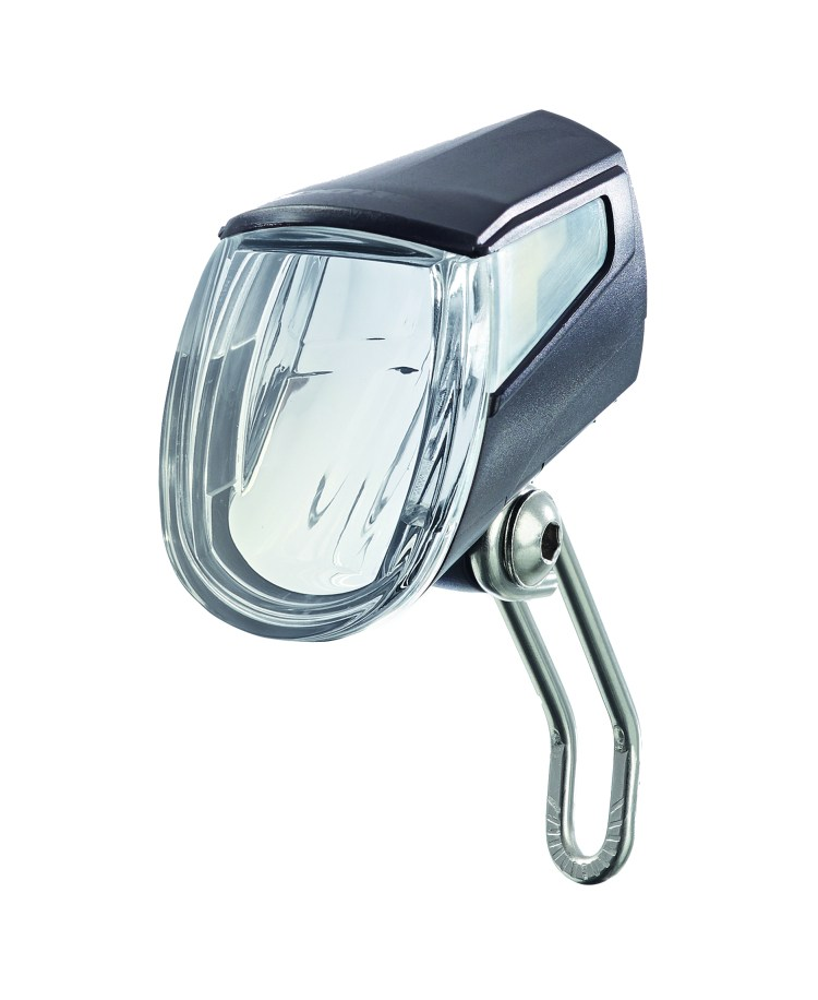 Trelock BIKE-i GO dynamo light product photo. The light is shown on it own with a white background.