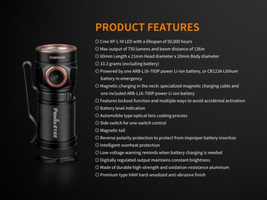 Nabíjacia LED baterka Fenix E18R
