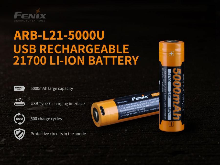 Li-ion akumulátor Fenix 21700 5000mAh USB