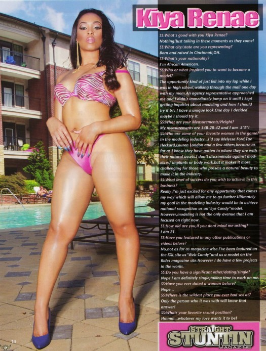 Kiya Renee in the latest issue of Straight Stuntin - courtesy of EyeCandyModeling
