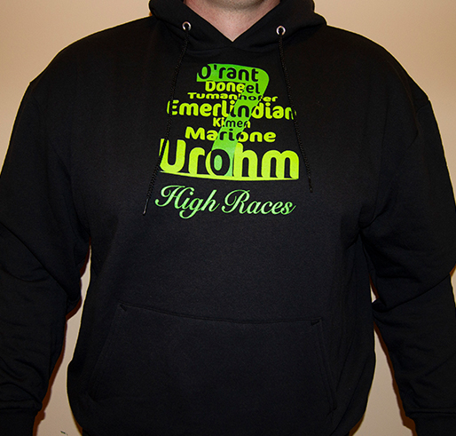 Black hoodie with the high races of the dragon keeper chronicles