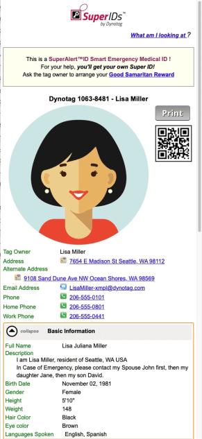 Lisa's MedID Record!