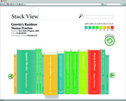 """Stack View is a book """"neighborhood visualizer"""" designed to allow users to browse Harvard's virtual library stacks. Stack View is a project of the model library lab at Harvard Law School. Image credit: Jeff Goldenson—Harvard Law School Library."""