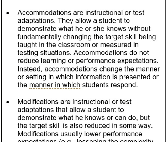 Modifications Are Different From Accommodations