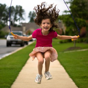Girl skipping