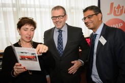 Professors Marie Vidailhet and Kailash Bhatia with Dystonia Europe President Robert Scholten.