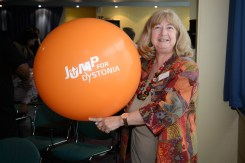 Professor Maja Relja from Croatia playing with the Jump for Dystonia balloons.