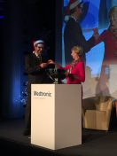 Helping Santa in the Medtronic tombola.