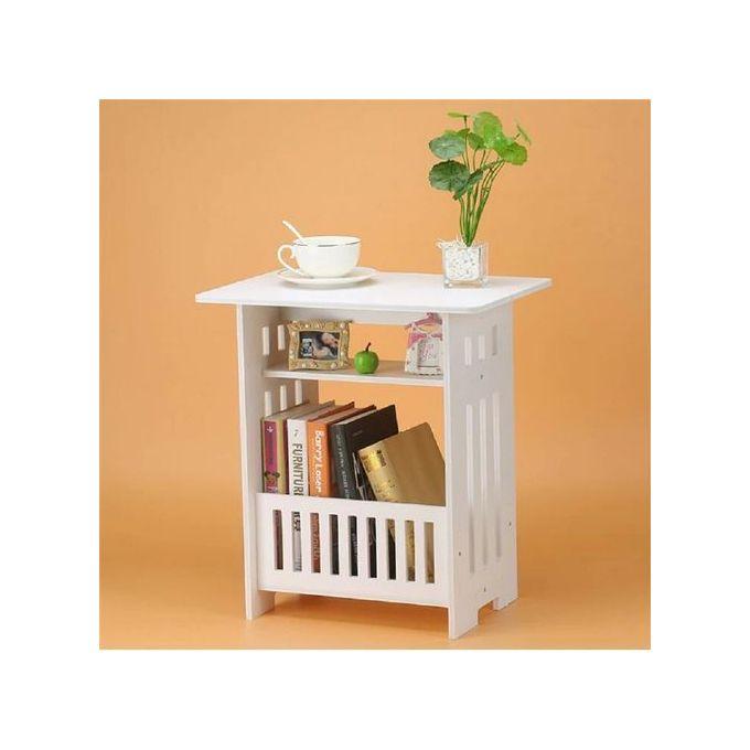 petite table basse en bois plastique blanc hauteur 60cm largeur 44cm profondeur 30cm