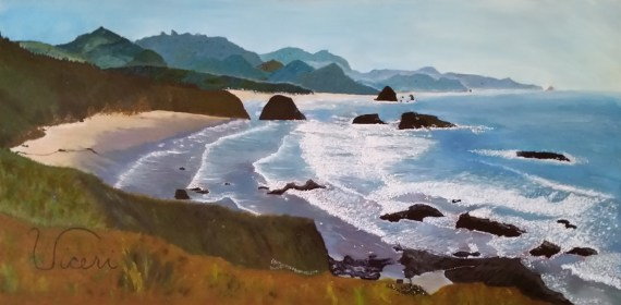 Janet Viceri This is my painting Cannon Beach. My boyfriend, who is now my husband, brought me here when I was being treated for leukemia. I fell asleep listening to the ocean. I tear up every time I go back.