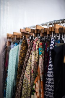 A collection of textiles and clothing items for Sundara's upcoming line