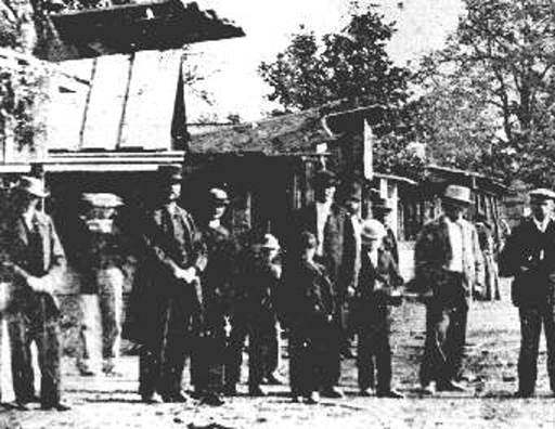 People posing at the first State Fair in Oregon City, Oregon in 1861