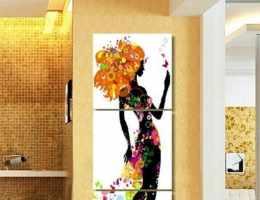 Déco Broderie diamant motif femme et fleurs