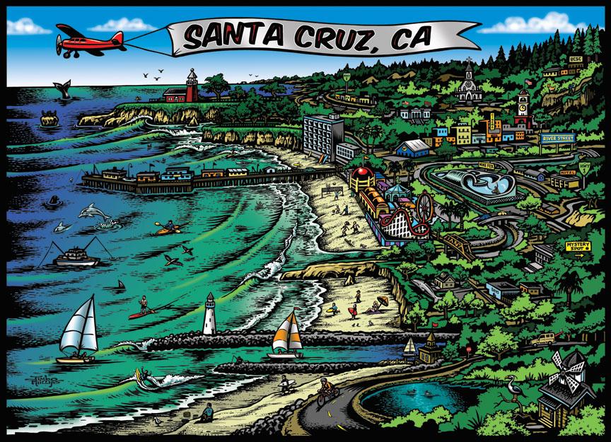 santa cruz map 18x24 poster